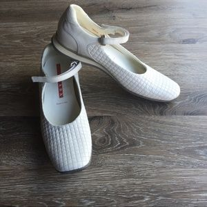 Prada Y2K white quilted leather flats